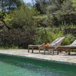 Aanleg smaragd groen zwembad midden in de natuur